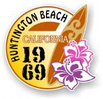 Huntington Beach 1969 Surfer Surfing Design Vinyl Car sticker decal  95x98mm